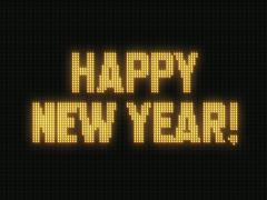 Happy New Year! spelled out on Jumbotron screen Stock Footage
