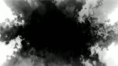 Abstract Black Smoke Cloud Loop over white Stock Footage