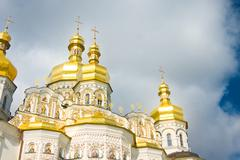 golden cupola of orthodox church - stock illustration
