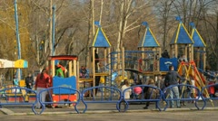 Playground and lots of children playing Stock Footage