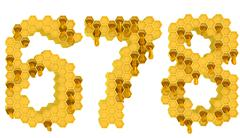 Honey font 6 7 and 8 numerals isolated Stock Illustration