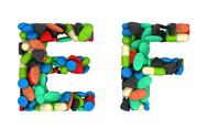 Stock Illustration of pharmaceutical font c and d pills letters