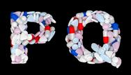 Stock Illustration of pharmacy font p and q pills letters