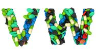 Stock Illustration of pharmacy font w and v pills letters