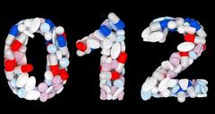 Pills font 0 1 and 2 numerals isolated Stock Illustration