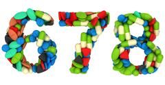 pills font 6 7 and 8 numerals isolated - stock illustration