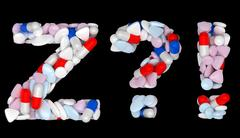 Pills font z exlamation and query marks Stock Illustration