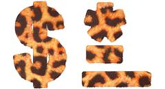 Leopard fell dollar symbol, dash, hyphen and asterisk Stock Illustration