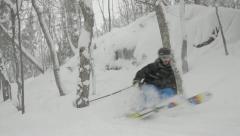 Skiing Rock Cliff Jump - stock footage