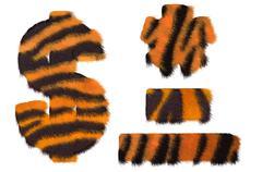 Tiger fell dollar symbol, dash, hyphen and asterisk Stock Illustration