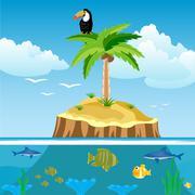 Desert island and undersea world Stock Illustration