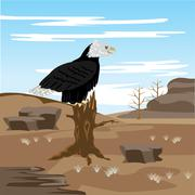 lifeless desert and eagle on tree - stock illustration