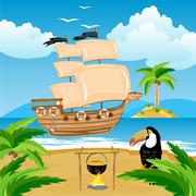 nave with sail beside coast in tropic - stock illustration