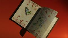 Animated book with turning pages,flying butterflies Stock Footage