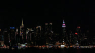 Nighttime View of New York City Manhattan Skyline Stock Video Stock Footage