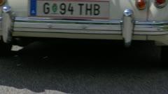 Vintage Classic Car Convertible Jaguar MG MGA MGB Driving through Europe White C Stock Footage