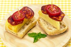 Spanish omelette with chorizo iberico Stock Photos