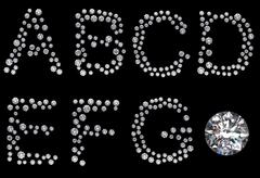 Diamond a-g letters with gem Stock Illustration