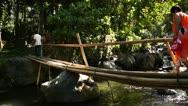 Bamboo Bridge Walker Stock Footage