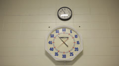Indoor Lap Swimming Pool Clock Sits Below Time Clock Stock Video Stock Footage