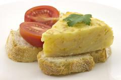 Skewer spanish omelette Stock Photos