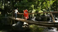 Bamboo Bridge Walker Stock Footage