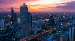 TIMELAPSE OF BANGKOK SKYLINE AT SUNSET Stock Footage