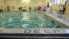 Deep Water Sign in an Indoor Pool Stock Video Stock Footage