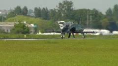 Hawk Black Taxiing Southend Airport Long Shot Stock Footage
