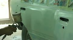 Auto Repair Shop. Painting job. Stock Footage