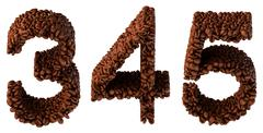 roasted coffee font 3 4 5 numerals - stock illustration