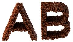roasted coffee font a and b letters - stock illustration