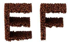 roasted coffee font e and f letters - stock illustration