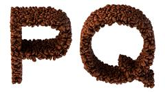 roasted coffee font p and q letters - stock illustration