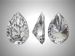 Stock Illustration of three views of pear diamond