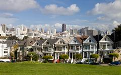 san francisco - november 2012: painted ladies, san francisco-usa - stock photo
