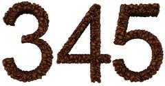 Coffee font 3 4 5 numerals isolated Stock Illustration