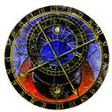Stock Illustration of astronomical clock in grunge style