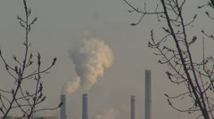 Pollution, global warming. Pollution in town Stock Footage