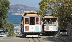 san francisco - the cable car tram - stock photo