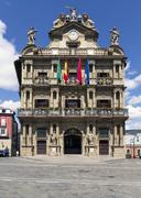 town hall of pamplona, navarra, spain. - stock photo