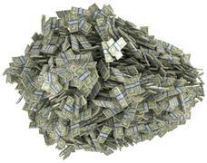 money and wealth. heap of us dollar bundles - stock illustration