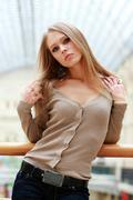 portrait of young beautiful blond woman - stock photo