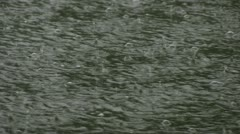 Heavy Rain Creating Bubbles on Water Stock Footage