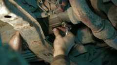 Mechanic Turns Screw Off Stock Footage