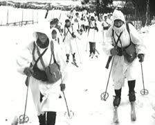 World War 2 - Soldier Ski Stock Footage