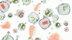 Falling sushi pieces Stock Footage