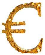 euro currency and cash. symbol assembled with coins - stock illustration