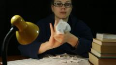 Stock Video Footage of Angry woman crumpling paper