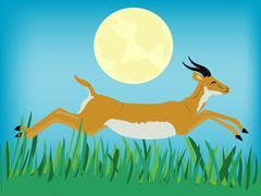 runninging antelope - stock illustration